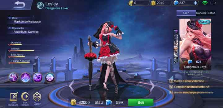 Mobile Legends Skin Lesley Dangerous Love