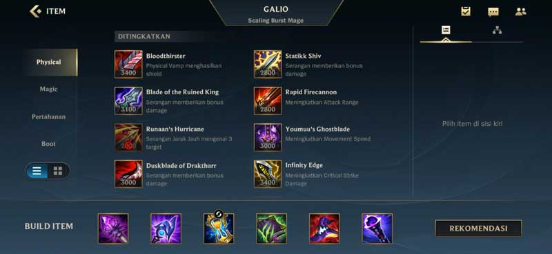 Rekomendasi Item Build Galio